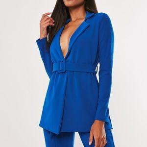 Missguided Long Belted Royal Blue Blazer Jacket